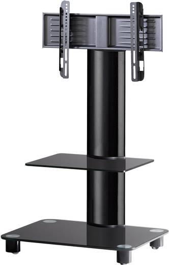 TV tartó állvány alumíniumból, fekete üvegpolccal, fekete színben VCM Bilano 17091