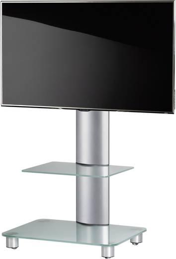 TV tartó állvány alumíniumból, üvegpolccal, ezüst színben VCM Bilano 17095