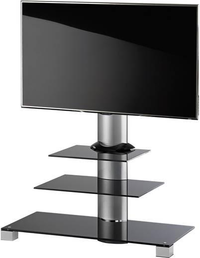 TV tartó állvány alumíniumból, fekete üvegpolccal, ezüst színben VCM Amalo 17015