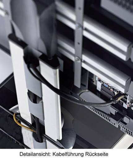 TV tartó állvány alumíniumból, ezüst színben, fehér üveggel 56 - 94cm (22-37) készülék méretig VCM Bilano 17110