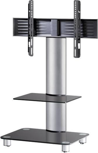 TV tartó állvány alumíniumból, fekete üvegpolccal, ezüst színben 81 - 152cm (32-60) készülék méretig VCM Tosal 17115