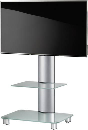 TV tartó állvány alumíniumból, fehér üvegpolccal, ezüst színben 81 - 152cm (32-60) készülék méretig VCM Tosal 17120