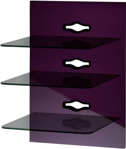 Fali tartó konzol, TV-hez, Hi-Fi berendezésekhez, 3 részes polcrendszerrel, lila-fekete színben VCM Xeno-3 19321