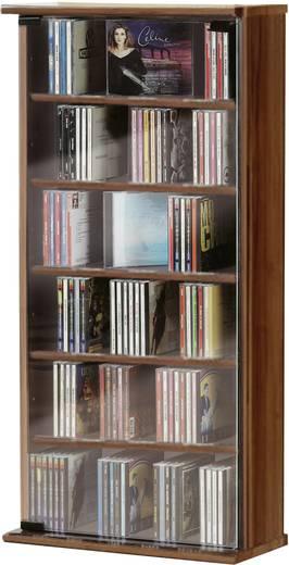 CD, DVD tároló szekrény 150db CD vagy 65db DVD tárolására, dió színben VCM Vetro 25212