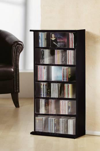 CD, DVD tároló szekrény 150db CD vagy 65db DVD tárolására, fekete színben VCM Vostan 25241