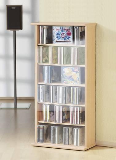 CD, DVD tároló szekrény 150db CD vagy 65db DVD tárolására, bükk színben VCM Vostan 25243