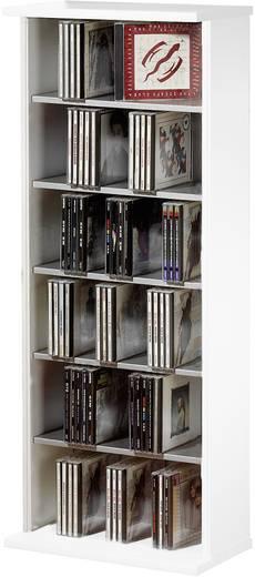 CD, DVD tároló szekrény 150db CD vagy 65db DVD tárolására, fehér színben VCM Vostan 25245