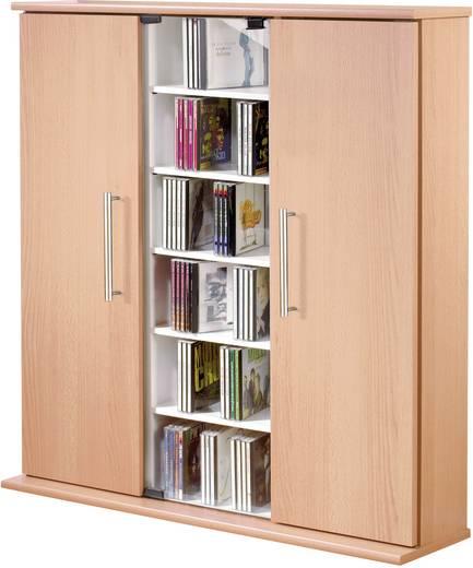 CD, DVD tároló szekrény 450db CD vagy 195db DVD tárolására, bükk színben VCM Santo 45023