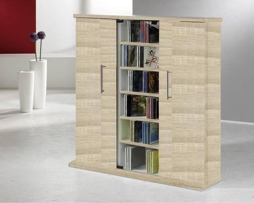 CD, DVD tároló szekrény 450db CD vagy 195db DVD tárolására, tölgy színben VCM Santo 45029