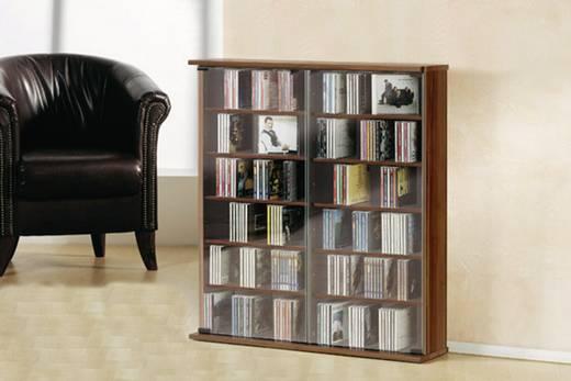 CD, DVD tároló szekrény 300db CD vagy 130db DVD tárolására, dió színben VCM Roma 50432
