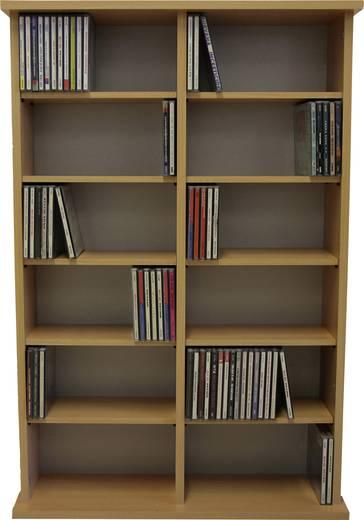CD, DVD tároló szekrény 300db CD vagy 130db DVD tárolására, bükk színben VCM Ronul 50443