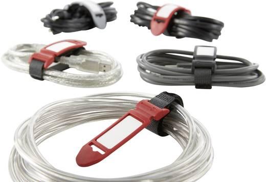 Tépőzáras kábelkötöző jelölővel, 210 x 16 mm, szürke, 5 db