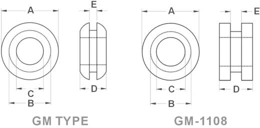 Kábelátvezető gyűrű Ø max. 15,5 mm, PVC, fekete, KSS GMR2015