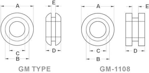 Kábelátvezető gyűrű Ø max. 6,4 mm, PVC, fekete, KSS GMR1006