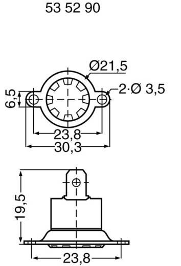 Bimetall kapcsolók Nyitó hőmérséklet ± 5°C 155 °C Zárási hőmérséklet 110 °C max.. 250 V~ max.. 6 A