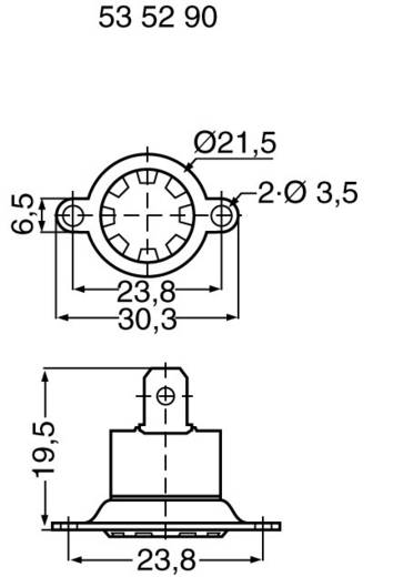 Bimetall kapcsolók Nyitó hőmérséklet ± 5°C 70 °C Zárási hőmérséklet 60 °C max.. 250 V~ max.. 6 A