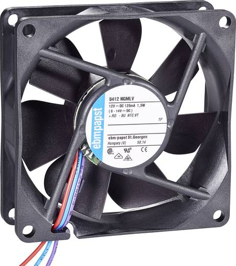 Axiális ventilátor, 27-45 m³/h, 10-19 dBA, 80 x 80 x 25 mm, EBM Papst Vario-Fan 8412 NGMLV-VP