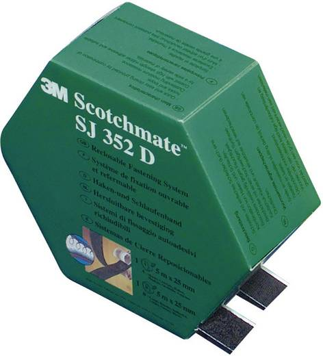 Öntapadó tépőzár, 5 m x 25,4 mm, fekete, 3M SJ 352D