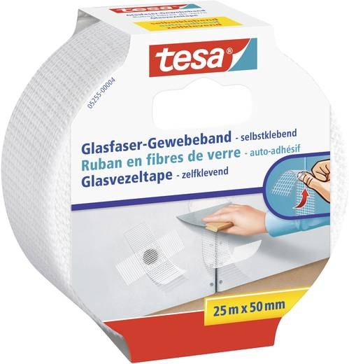 Üvegszálas szövet ragasztószalag, tesa® (H x Sz) 25 m x 50 mm, fehér 05255-00004-00 TESA, tartalom: 1 tekercs