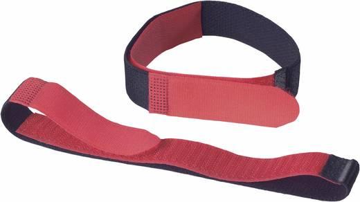 Tépőzáras biztonsági pánt, 400 mm x 20 mm, fekete/piros, 2 db