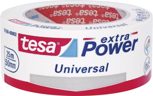Szövetbetétes ragasztószalag, univerzális, fehér, 25 m x 50 mm , tesa® extra Power