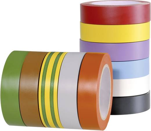 PVC szigetelőszalag, (H x Sz) 10 m x 15 mm, zöld/Sárga PVC HelaTape Flex 15 HellermannTyton, tartalom: 1 tekercs