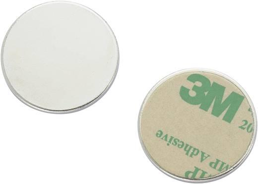 Mágneses lap, öntapadós (Ø) 25 mm ezüst N35 Neodymium nikkelezett N35-2502 Conrad