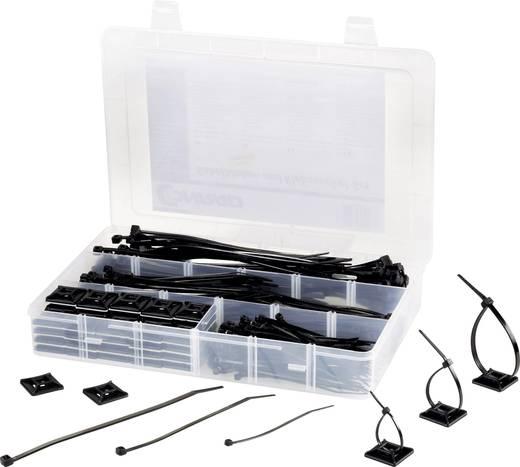 Kábelkötegelő és öntapadós tartó készlet 100/142/190 x 4,8 mm, fekete, Tru Components EPR-350UV