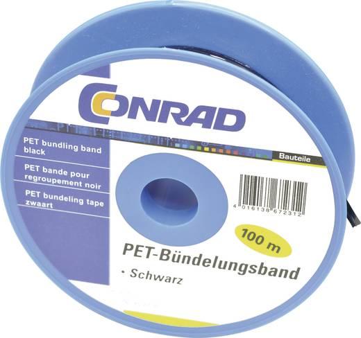 PET kábelkötöző szalag (H x Sz) 100 m x 4 mm PET-3/100SW Szín:, fekete 1 tekercs Conrad