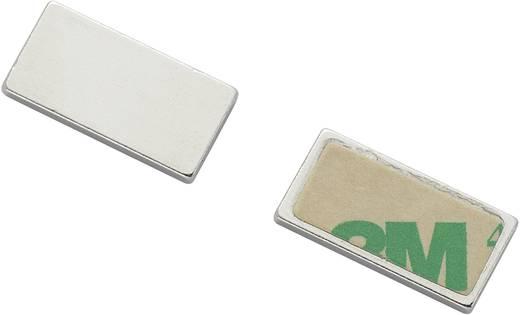 Mágneses lap, öntapadós (H x Sz)20 mm x 10 mm ezüst N35 Neodymium nikkelezett N35-451502 Tru Components