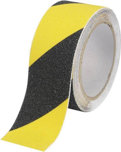 Csúszásgátló szalag (H x Sz) 5 m x 50 mm, fekete, sárga PVC ANST505M-YB Tru Components, tartalom: 1 tekercs