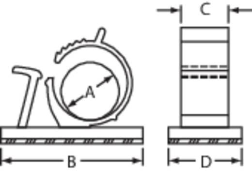 Öntapadós kábelrögzítő bilincs, natúr, 13.5 - 10.3 x 25.4 x 10.2 x 19.1 mm