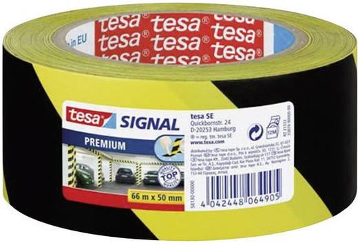 Tesa padlójelölő szalag, veszélyt jelző szalag, sárga/fekete csík (H x Sz) 66 m x 50 mm Tesa 58130-00-00