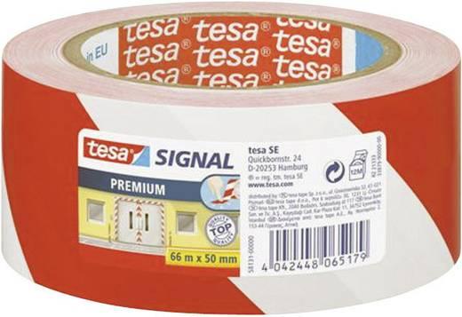 Veszély jelző szalag (H x Sz) 66 m x 50 mm, piros, fehér 58131-00-00 TESA, tartalom: 1 tekercs