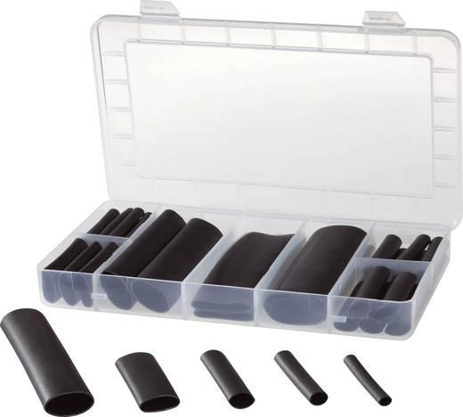 Zsugorcső készlet, Fekete Tru Components Polioletin, -55 ... +125 °C, Fekete