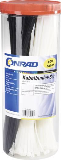 Kábelkötegelő készlet 300 x 3,6 mm, fekete, natúr, 400 db, Tru Components 28530c206