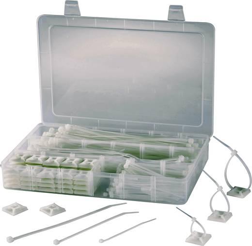 Kábelkötegelő és felragasztható kábelkötegelő tartó készlet, 27,5 x 19,4 x 4,3 cm EPR-350 átlátszó Conrad