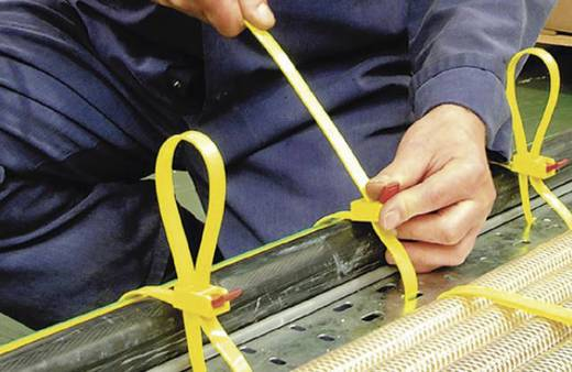 Oldható kábelkötegelő gyorszárral 750 x 13 mm, sárga/piros, 5 db, HellermannTyton 115-00001 SPEEDYTIE-PA66-YE-V1