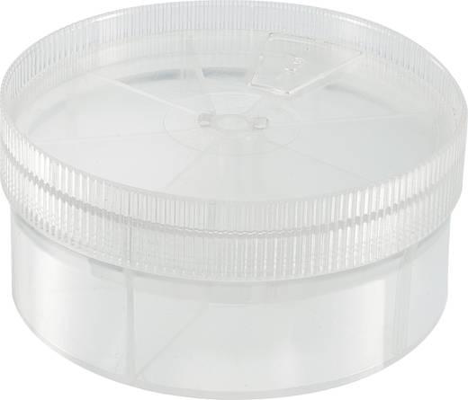 7 részes kerek alkatrésztároló doboz, átlátszó, Ø 92 x 43,5 mm
