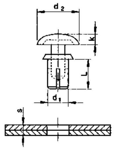 PB Fastener Feszítő szegecs, kézzel szerelhető (d1 x d2 x k x L) mm 5,05 x 9 x 2 x 6,5 Lemezméret 3.5 - 4.5 mm PA Fekete