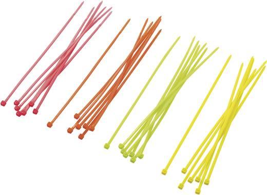 Kábelkötöző készlet, 80 db, neon