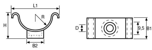 Rögzítőbilincs, Cradle Clip Köteg Ø: 6.3 mm C1-N66-BK-C1 Fekete HellermannTyton Tartalom: 1 db