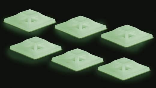 Öntapadós kábeltartó, kábelkötöző tartó fluoreszkáló zöld színben 50db 25.4x25.4mm Tru Components