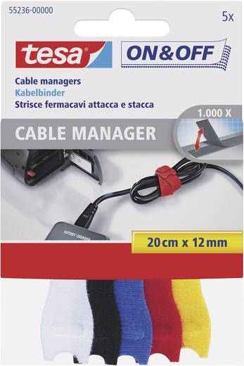 Tépőzár kábelkötegelő Kötegeléshez Bolyhos és horgos fél (H x Sz) 200 mm x 12 mm Tarka TESA On & Off 5 db