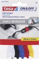 Tesa tépőzáras kábelkötöző, kábelkötegelő 5 részes készlet (H x Sz) 200 mm x 12 mm TESA On & Off 55236-00-00 (55236-00-00) TESA On & Off