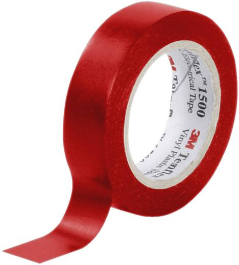 PVC elektromos szigetelőszalag, 10 m x 15 mm, piros, 3M Temflex 1500
