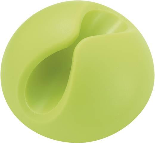 Kábeltartók, öntapadó, zöld (fluoreszkáló), tartalom: 1 db