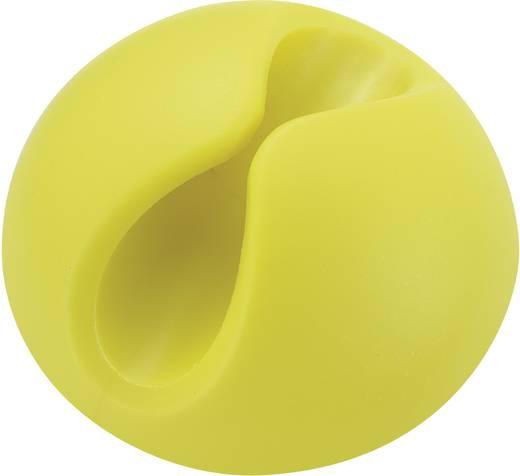 Kábeltartók, öntapadó, sárga (fluoreszkáló), tartalom: 1 db