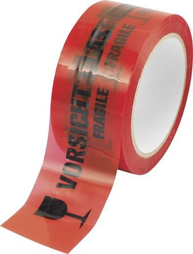 Figyelmeztető ragasztószalag Vorsicht Glas - Vigyázat üveg, törékeny felirattal (H x Sz) 66 m x 50 mm Basetech BOPP-RB