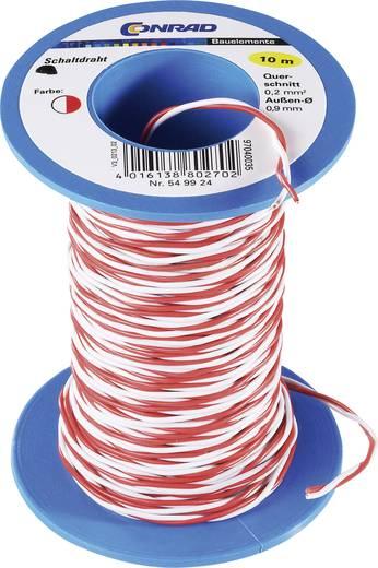Réz kapcsolóvezeték, Ø 0,6 mm, 10 m, piros/fehér, CCA
